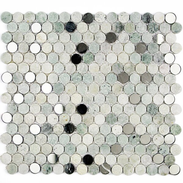 Mirage Penny 0.75 x 0.75 Marble/Glass Mosaic Tile in Green by Splashback Tile