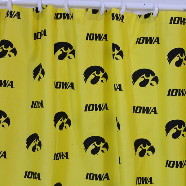 NCAA Iowa Cotton Printed Shower Curtain by College Covers