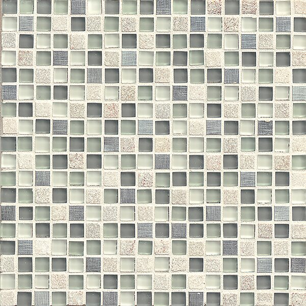 Queenstown 12 x 12 Stone and Glass Mosaic Tile in Grey by Grayson Martin