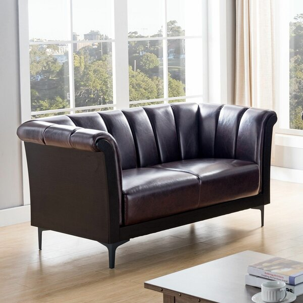 Review Gavino Chesterfield 61'' Rolled Arm Loveseat
