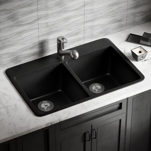 Granite Composite 33 x 22 Double Basin Drop-In Kitchen Sink with Basket Strainers