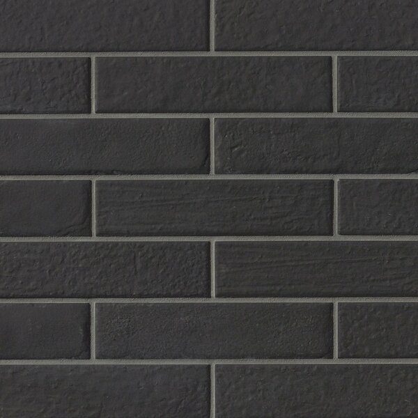 9.75 x 2.38 Porcelain Field Tile in Black by Grayson Martin