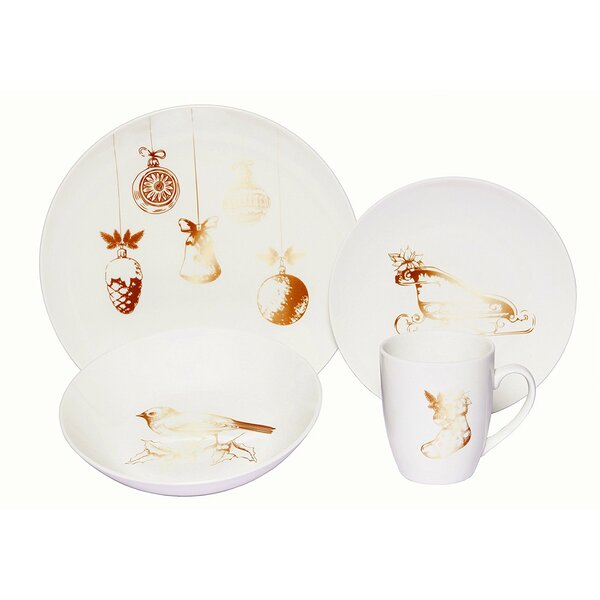 Vintage Christmas Porcelain Coupe 18 Piece Dinnerware Set, Service for 6 by The Holiday Aisle