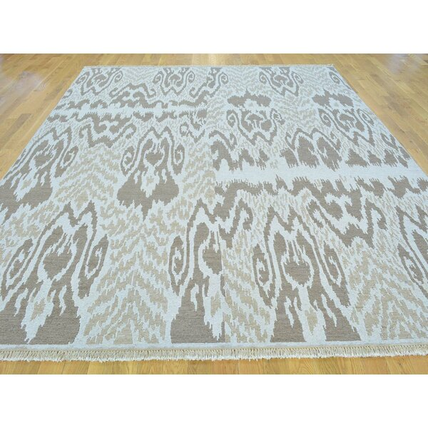 One-of-a-Kind Blau Soumak Ikat Design Handwoven Ivory Wool Area Rug by Isabelline