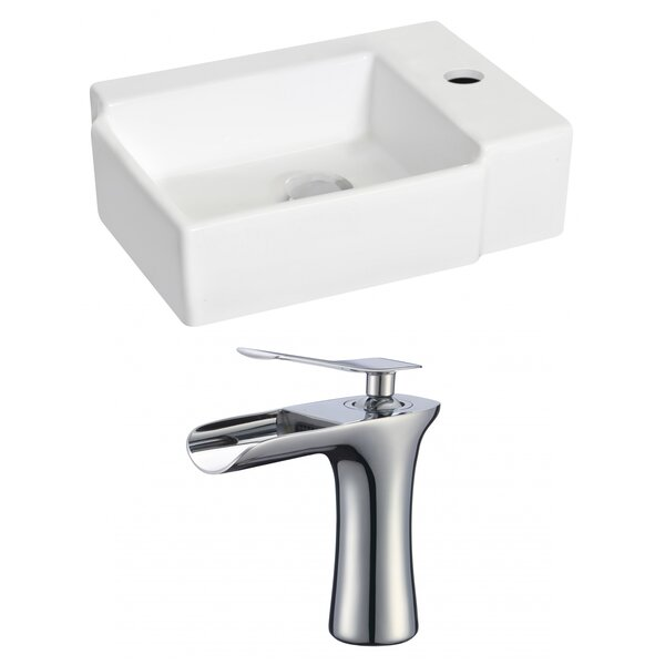 Ceramic 17 Wall Mount Bathroom Sink with Faucet by Royal Purple Bath Kitchen