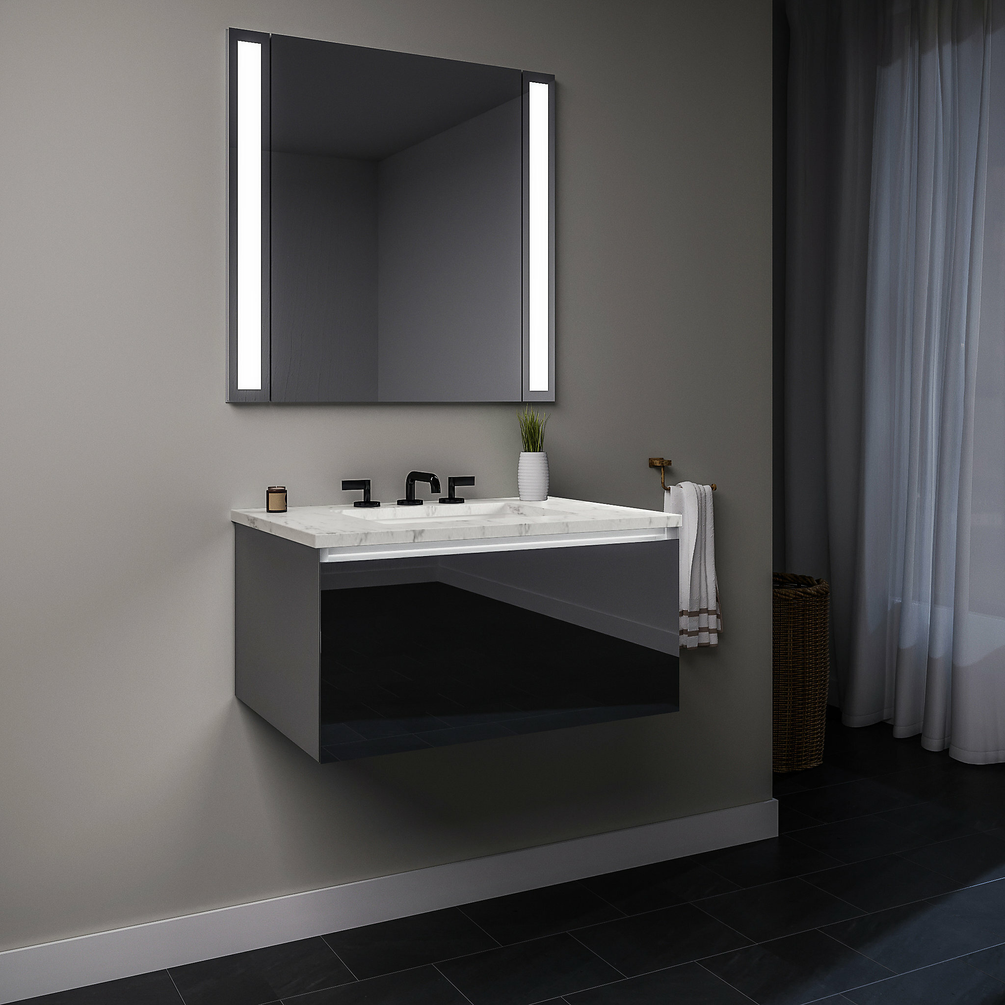 Wall Mounted Single Bathroom Vanity
