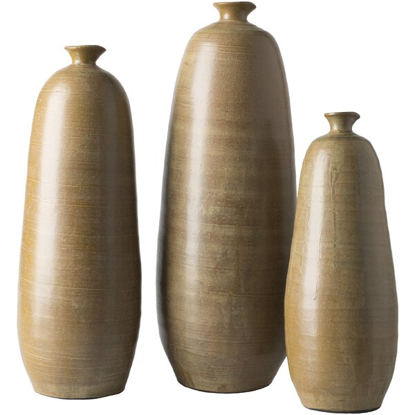 Brown Ceramic 3 Piece Table Vase Set by World Menagerie