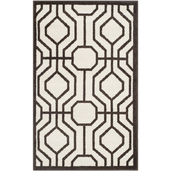 Camille Ivory/Brown Outdoor Area Rug by Mercury Row