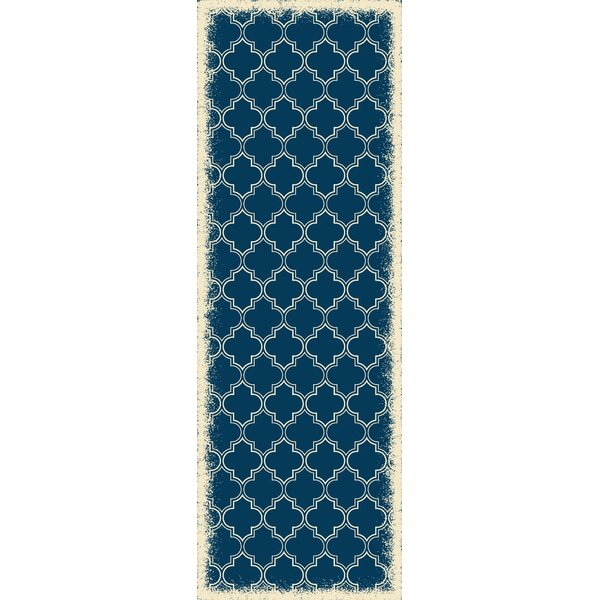 Wheatland Quaterfoil Design Blue Indoor/Outdoor Area Rug by Charlton Home