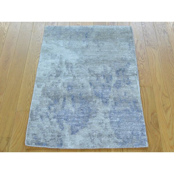 One-of-a-Kind Benefield Art Abstract Design Hand-Knotted Grey Silk Area Rug by Isabelline