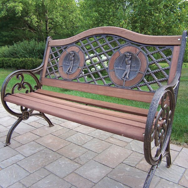 Double Golfer Cast Iron and Wood Park Bench by Oakland Living