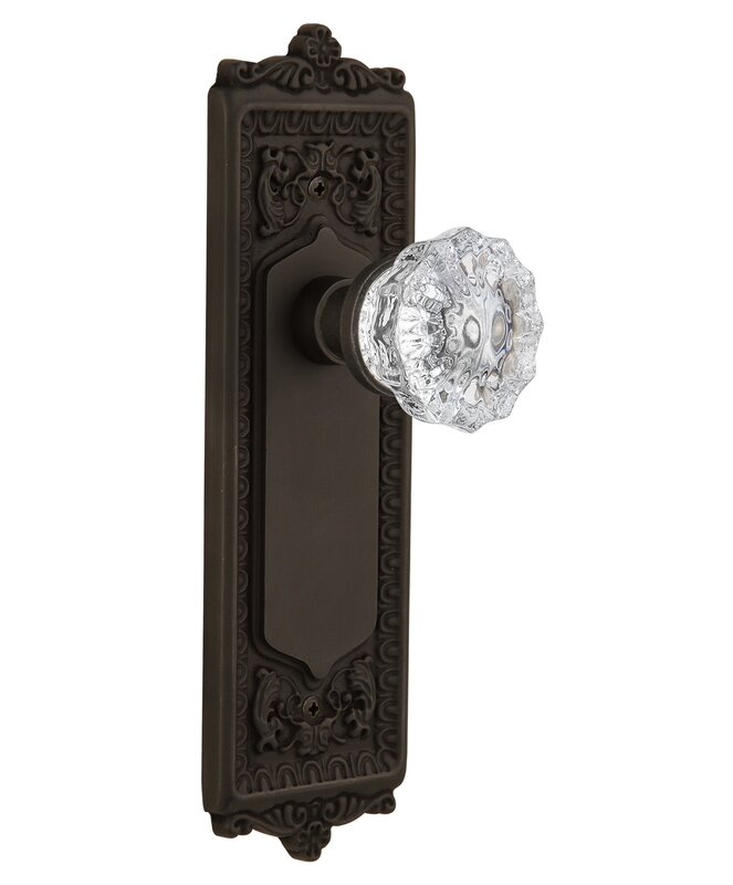 Beautiful Crystal Glass Double Dummy Door Knob With Egg And Dart Plate