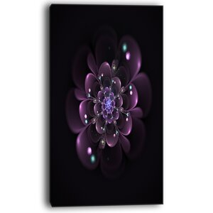 Glowing Light Purple Fractal Flower on Black Graphic Art on Wrapped Canvas by Design Art