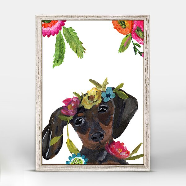 Casey Boho Dachshund Mini Framed Canvas Art by Bungalow Rose