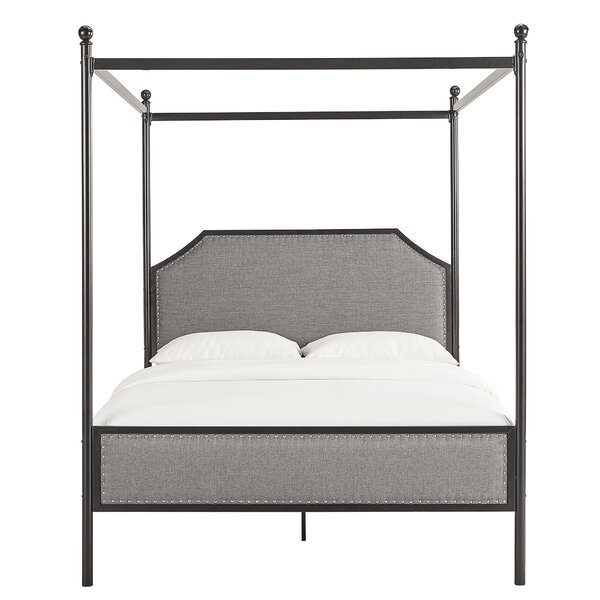 Shippy Metal Queen Upholstered Canopy Bed by Canora Grey