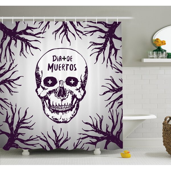 Mexican Quote with Spooky Skull Head among Tree Branches Calaveral Carnival Graphic Shower Curtain Set by Ambesonne