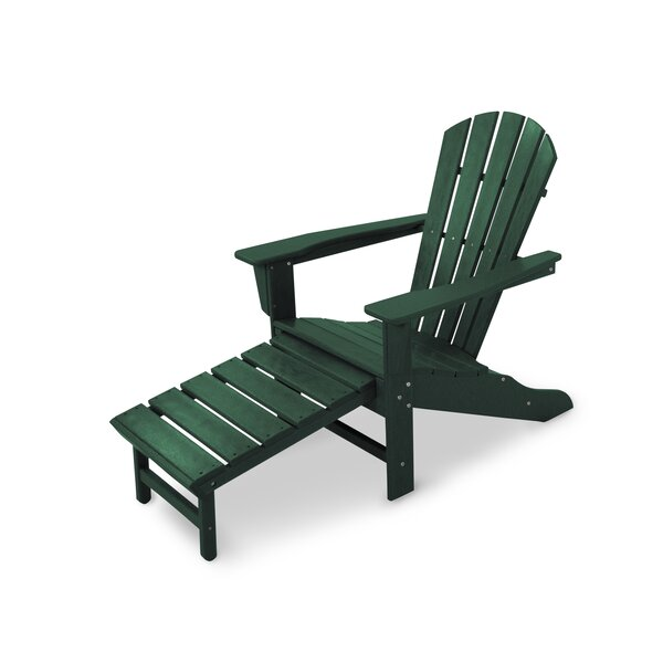 Palm Coast Plastic Adirondack Chair with Ottoman by POLYWOOD®