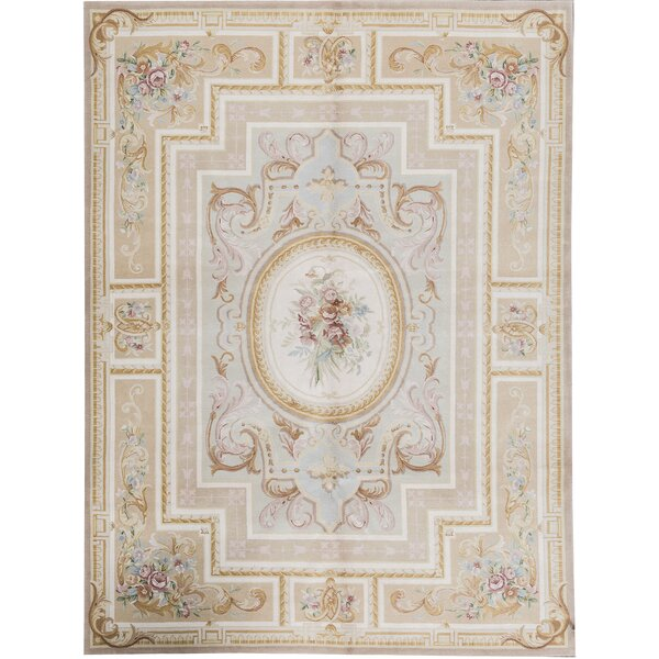 One-of-a-Kind Renaissance Hand-Knotted Beige 9' x 12' Wool Area Rug
