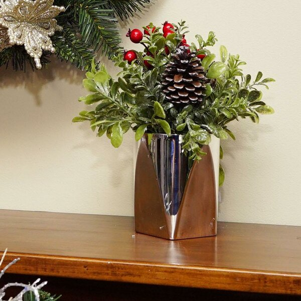 Artificial Decorative Christmas Floral Arrangement in Pot by The Holiday Aisle