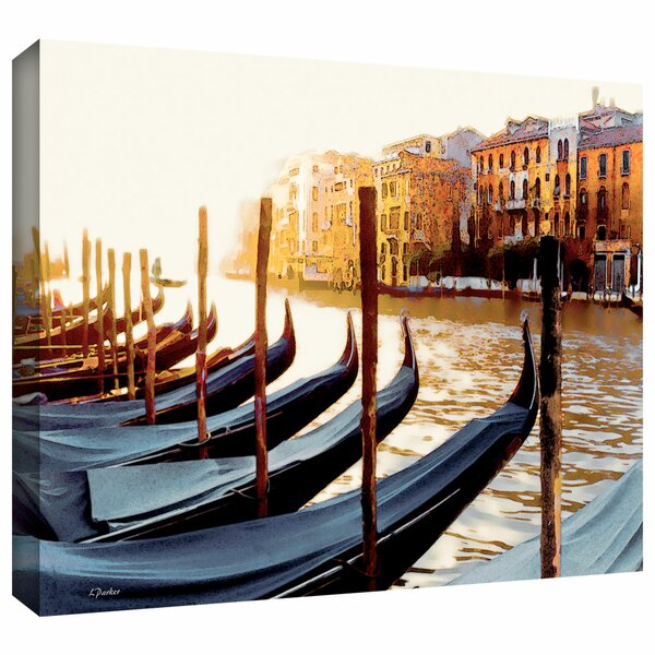 Gondolas of Venice by Linda Parker Photographic Print on Wrapped Canvas by ArtWall