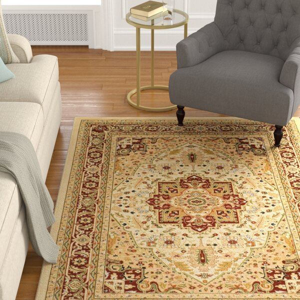 Theresa Power Loomed Ivory/Red Area Rug by Charlton Home