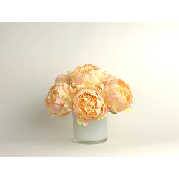 Artificial Silk Peonies Floral Arrangement in Decorative Vase by Ophelia & Co.