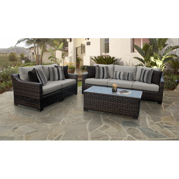 kathy ireland Homes & Gardens River Brook 6 Piece Outdoor Wicker Patio Furniture Set 06m by kathy ireland Homes & Gardens by TK Classics