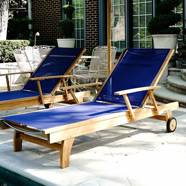 Maximilian Outdoor Reclining Teak Chaise Lounge By Rosecliff Heights