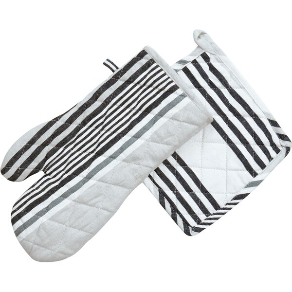 Granite Stripes Oven Mitt and Potholder Set (Set of 2) by Linen Tablecloth
