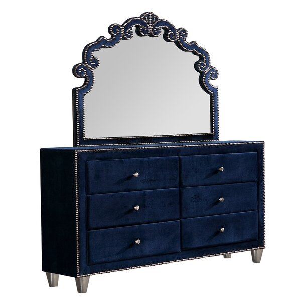 Vidal 6 Piece Double Dresser with Mirror by Rosdorf Park