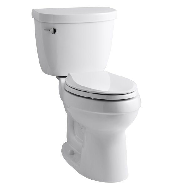 Cimarron Comfort Height Two-Piece Elongated 1.28 GPF Toilet with Aquapiston Flush Technology, Left-Hand Trip Lever and Tank Cover Locks by Kohler