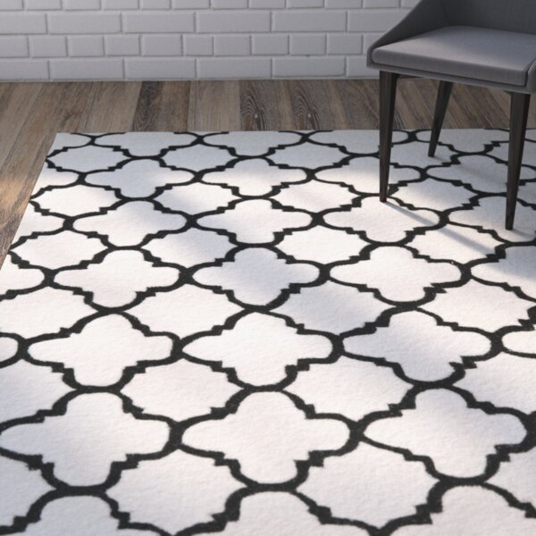 Wilkin Hand-Tufted Ivory/Black Area Rug by Wrought Studio