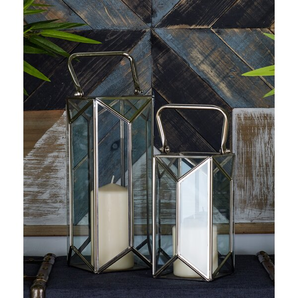 2 Piece Glass and Metal Lantern Set by Cole & Grey