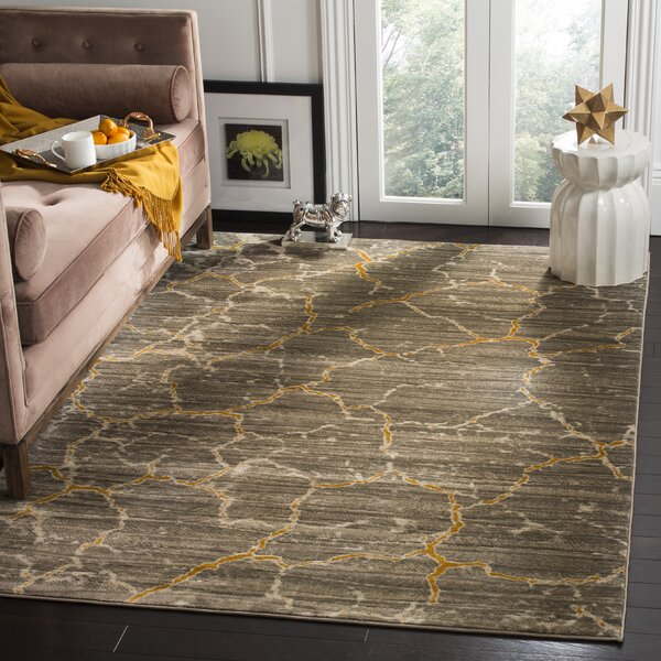 Sorrentino Dark grey/Yellow Area Rug by Wrought Studio