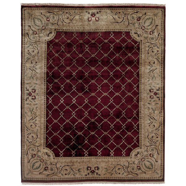 Hand-Knotted Purple/Beige Area Rug by Meridian Rugmakers