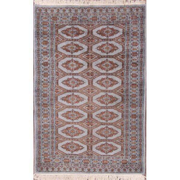 Mireya Bokhara Pakistan Traditional Oriental Hand-Knotted Wool Beige/Brown Area Rug by Bloomsbury Market