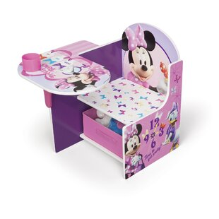 Minnie Kids Desk Chair With Storage Compartment And Cup Holder