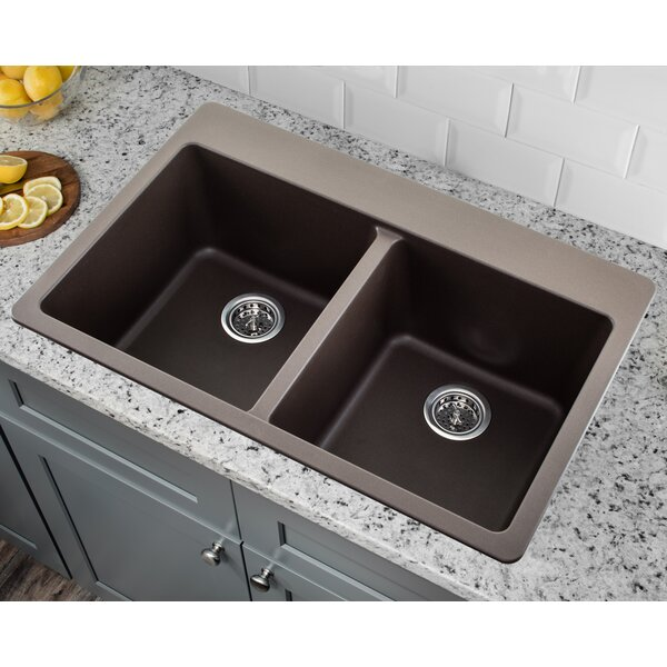 33 L x 22 W Quartz Double Bowl Kitchen Sink with Twist and Lock Strainer by Soleil