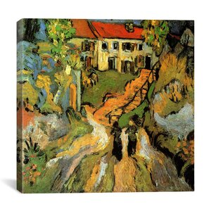 Village Street and Steps in Auvers with Two Figures by Vincent Van Gogh Painting Print on Wrapped Canvas by iCanvas