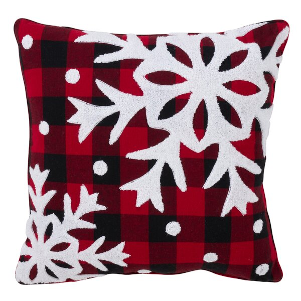 Ebenezer Buffalo Plaid Big Snowflake Design Cotton Throw Pillow by The Holiday Aisle