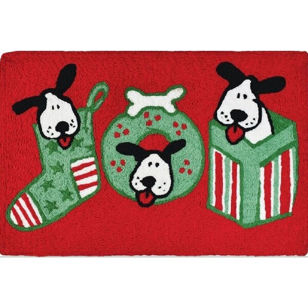Espinosa Joyful Puppies Hand-Tufted Red/Green Indo