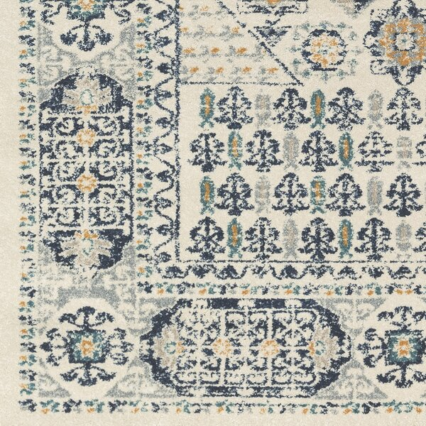 Cassian Oriental Navy/Taupe Area Rug by Bloomsbury Market