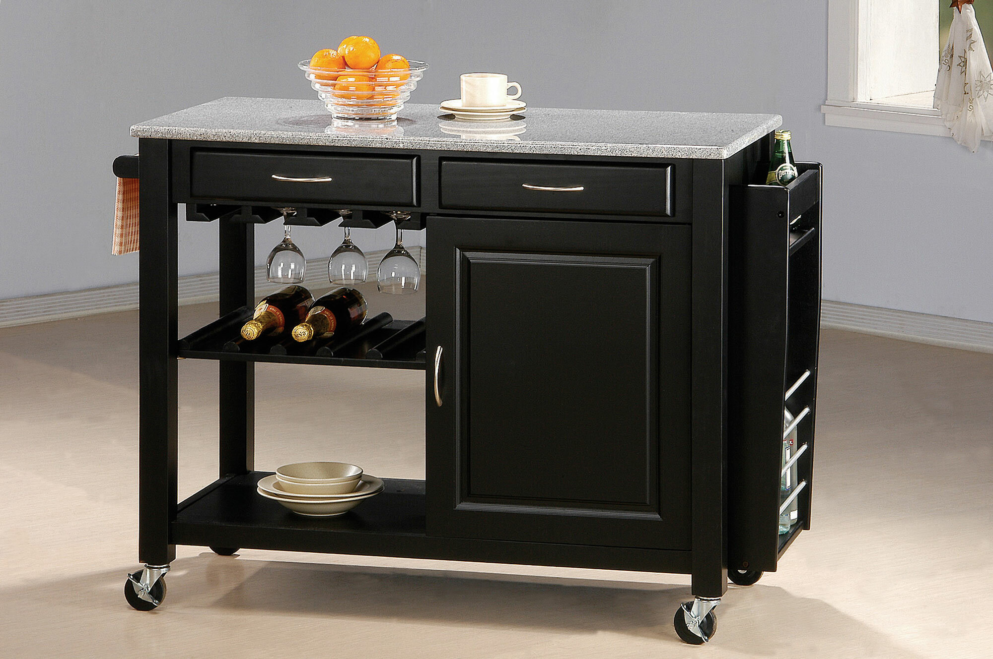 Pastore Portable Kitchen Cart with Granite Top
