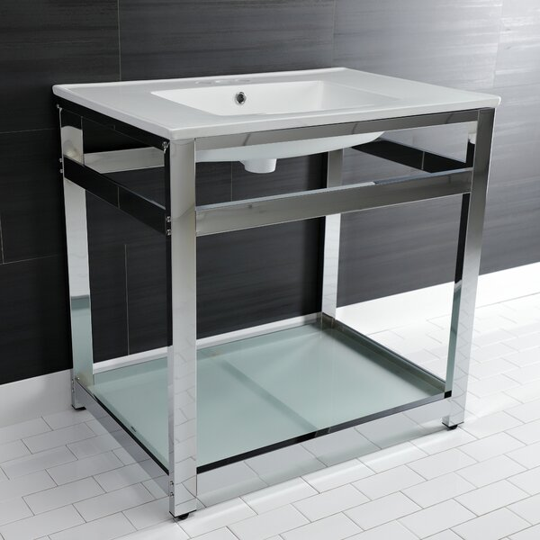 Ceramic Rectangular Console Bathroom Sink with Overflow