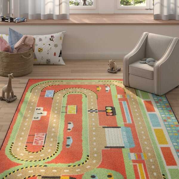 Engler Race Track Orange/Brown Area Rug by Zoomie Kids