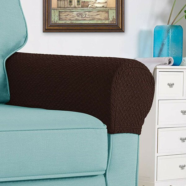 Stretch Jacquard Seersucker Spandex Box Cushion Sofa Slipcover by Winston Porter