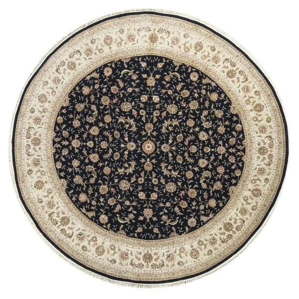 One-of-a-Kind Elegance Select Handwoven Round 10' Wool/Silk Beige/Black Area Rug