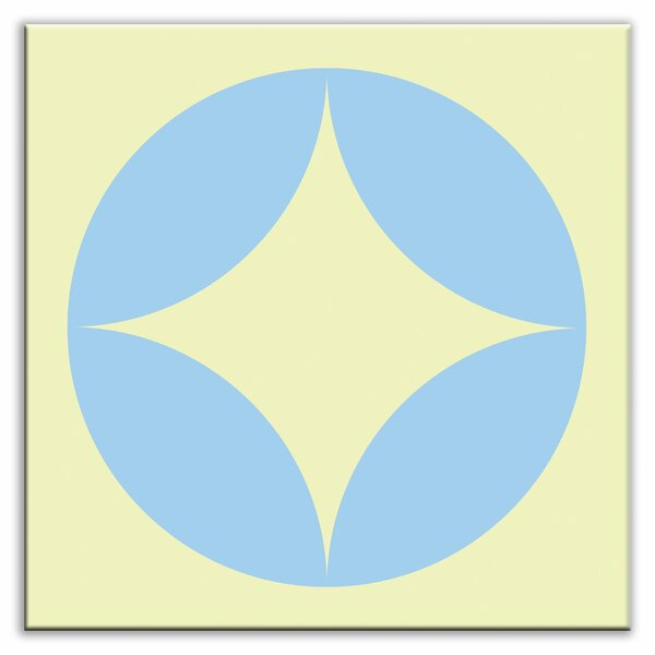 Folksy Love 4-1/4 x 4-1/4 Glossy Decorative Tile in Peek Light Blue-Yellow by Oscar & Izzy