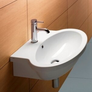 Inexpensive Panorama Ceramic 24 Wall Mount Bathroom Sink with Overflow By GSI Collection