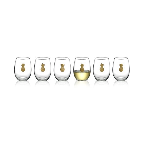Smiths Gold Pineapple 6-Piece 17 oz. Glass Every Day Glasses Set (Set of 36) by Bay Isle Home